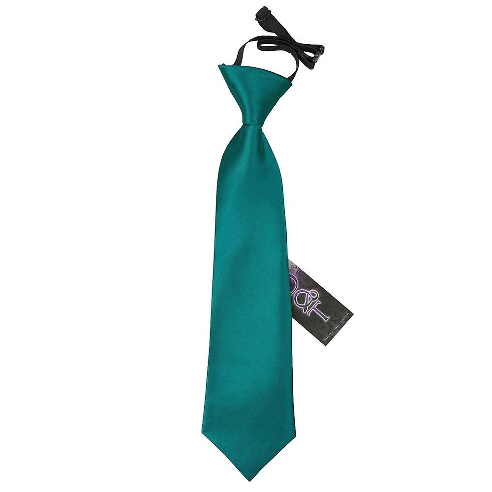 Boy's Plain Teal Satin Pre-Tied Tie (2-7 years)
