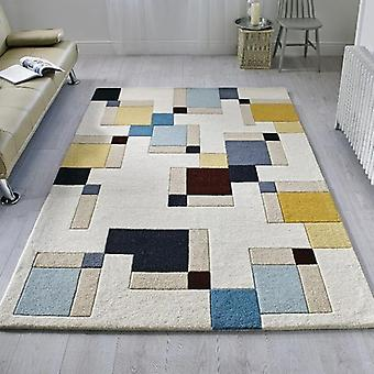 Rugs - Illusion Abstract Blocks - Blue & Ochre