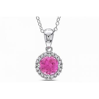 Affici 18ct White Gold Plated Sterling Silver Pendant with Chain ~ Pink Diamond Halo CZ Gem