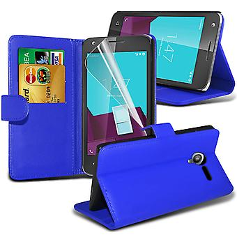 i-Tronixs Vodafone Smart Ultra 7 PU Leather Wallet Classic Flip Case + Screen Protector Guard -Blue