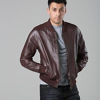 Polar whites mens real leather burgundy airforce bomber x : x