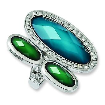 Laundry Silver-tone Blue and Green Resin Stones Ring - Ring Size: 7 to 8