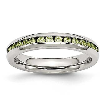 Stainless Steel Polished 4mm August Light Green Cubic Zirconia Ring - Ring Size: 6 to 9