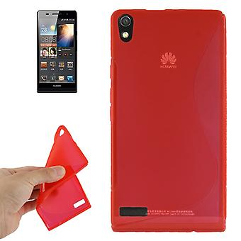 Mobiele case TPU case voor Huawei Ascend P6 rood