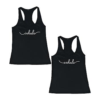 Inhale and Exhale Friendship Black Matching Tank Tops Cute BFF Racerback Tanks