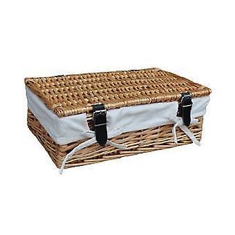 Bordée de blanc de cadeau rectangulaire en osier vide panier