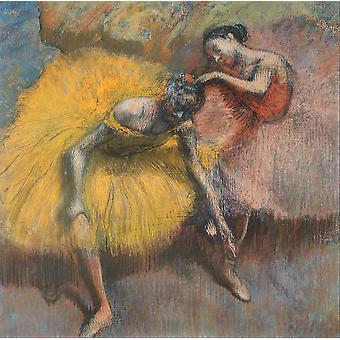 Edgar Degas - Two Dancers Yellow and Pink Poster Print Giclee