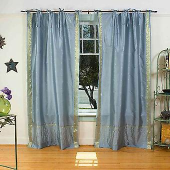 Gray  Tie Top  Sheer Sari Curtain / Drape / Panel  - Piece
