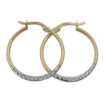 Gold earrings diamond 375 hoops gold Creole, bicolor, 9 KT GOLD