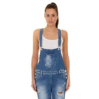Women's Boyfriend Fit Destroyed Denim Dungarees - Stonewash Bib Overall Playsuit