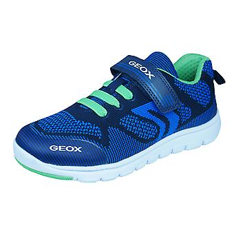 Geox J Xunday B J Boys Trainers / Shoes - Navy and Green