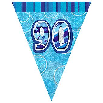 Unique Party Blue 90 Glitz Pennant Bunting
