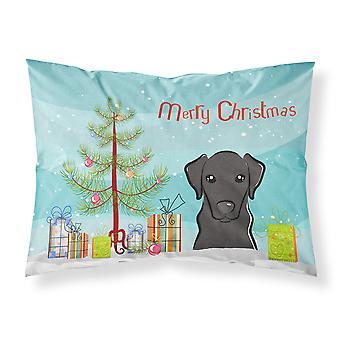 Christmas Tree and Black Labrador Fabric Standard Pillowcase