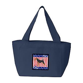 Carolines Schätze BB3285NA-8808 USA patriotischen Welsh Terrier Lunch-Bag