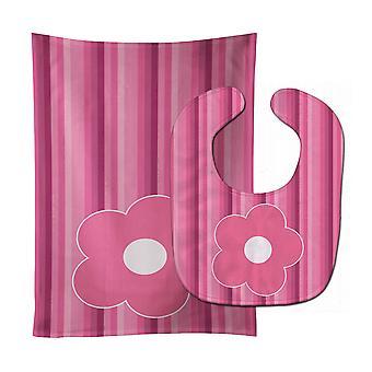 Carolines Treasures  BB8595STBU Pink Flower on Stripes Baby Bib & Burp Cloth