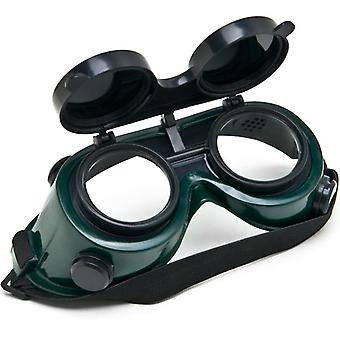 NEW Welders Safety Goggles Welding Cutting Glasses Flip Up Dark Green Lenses Oxy
