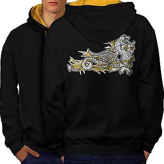 Dragon bête Asie Fantasy hommes noir (capot or) contraste Hoodie dos | Wellcoda