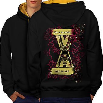Ostrza są ostre Slogan mężczyzn czarny (złoty kaptur) kontrast Bluza z kapturem z tyłu | Wellcoda