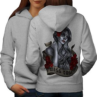 Miss Roses Beautiful Women GreyHoodie Back | Wellcoda