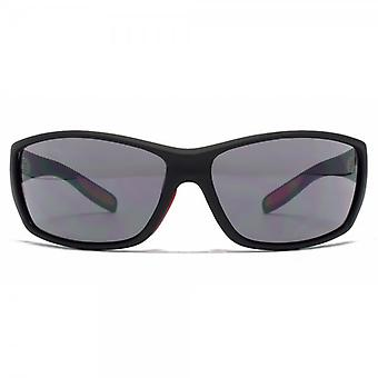 FCUK Rectangle Wrap Sunglasses In Matte Black Rubber