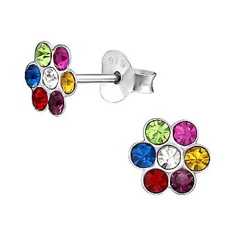 Flower - 925 Sterling Silver Crystal Ear Studs - W19630x