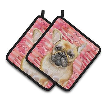 Carolines Treasures  BB9775PTHD French Bulldog Love Pair of Pot Holders