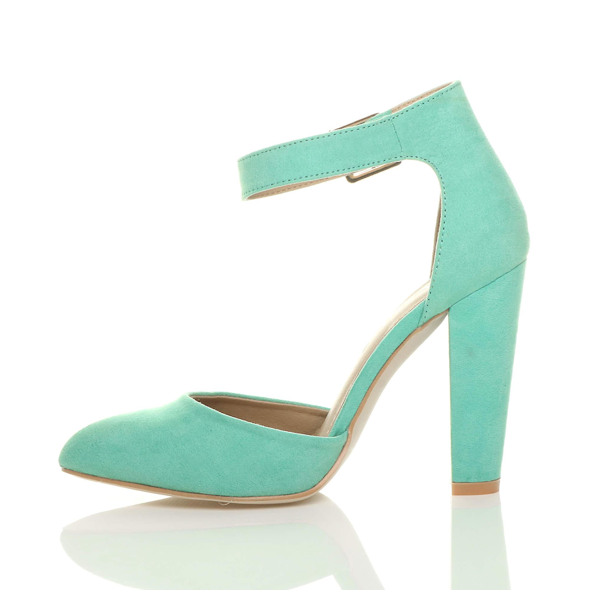 strap court Ajvani ankle cuff high womens pointed pumps block shoes buckle heel sandals zXY1zrq