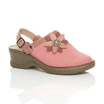 Ajvani womens mid block heel flower comfort slingback clogs mules sandals