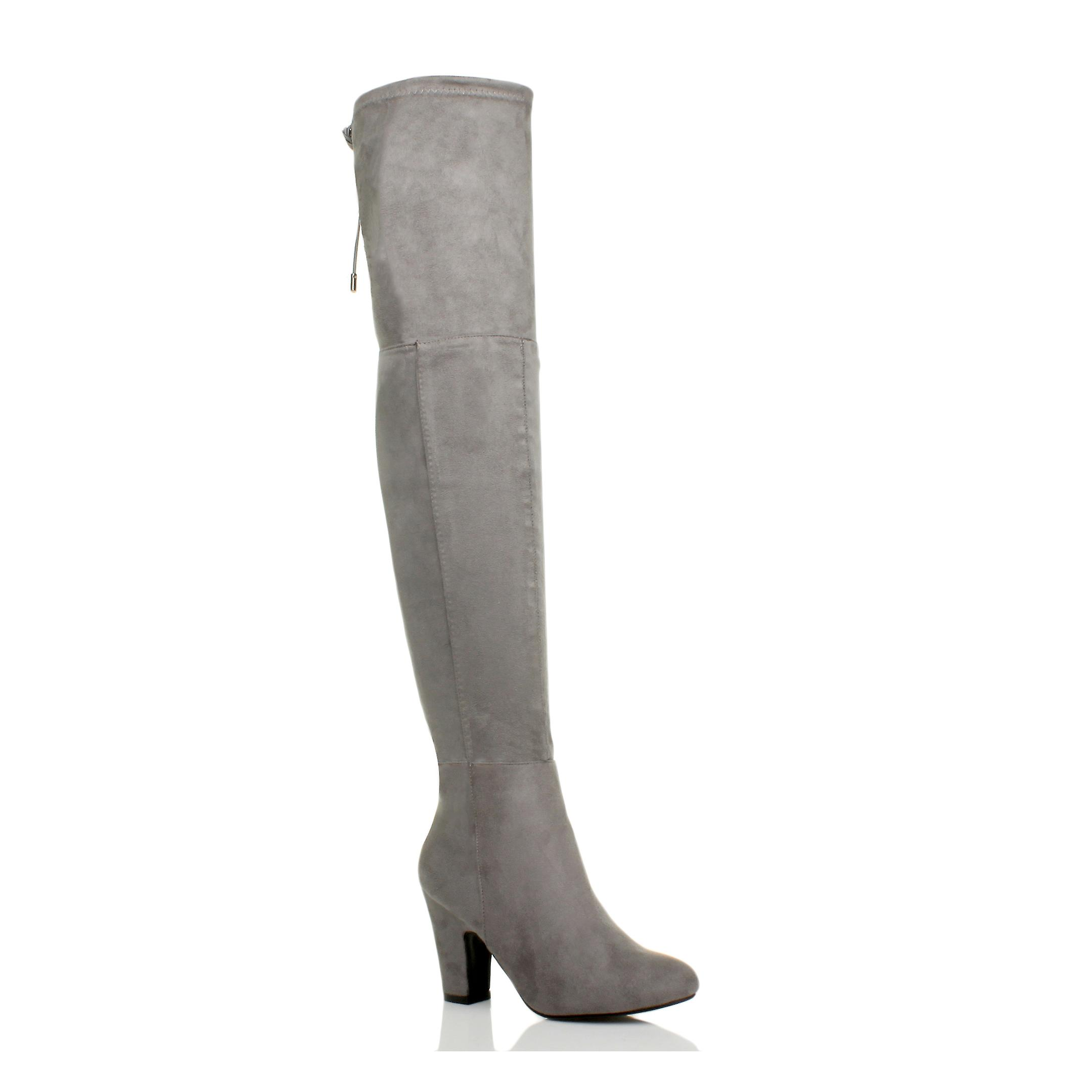 Ajvani womens high heel zip tie up riding over the knee thigh boots