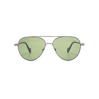 Moncler Pilot Sunglasses In Shiny Gunmetal Green