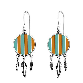 Silver Ethnic Earrings With Epoxy And Hanging Feather - 925 Sterling Silver Plain Earrings - W36461x