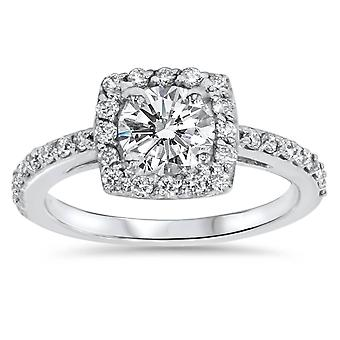 3/4ct Cushion Halo Diamond Engagement Ring 14K White Gold