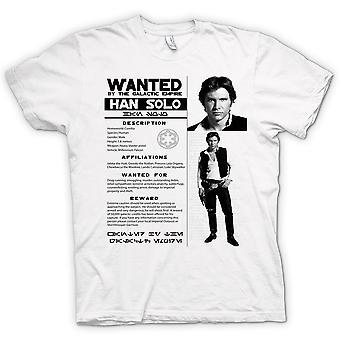 Mens t-skjorte-Star Wars Han Solo ønsket - plakat