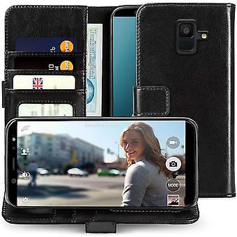 Samsung Galaxy A6 (2018) PU Leder ID stehen Brieftasche - schwarz