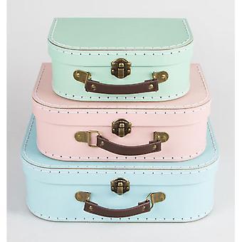 Pastell Retro Mini resväskor x 3-bröllop / hem dekoration rosa grön blå