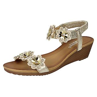 Ladies Savannah Mid Wedge Sandals F10789 - Rose Gold Synthetic - UK Size 8 - EU Size 41 - US Size 10