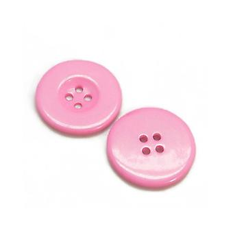 Packet 8 x Pale Pink Resin 34mm Round 4-Holed Sew On Buttons HA10160