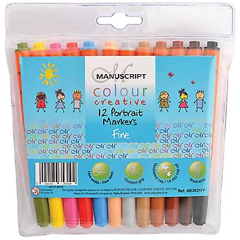 Manuscript Colour Creative Markers Fine Tip 12/Pkg-Portrait