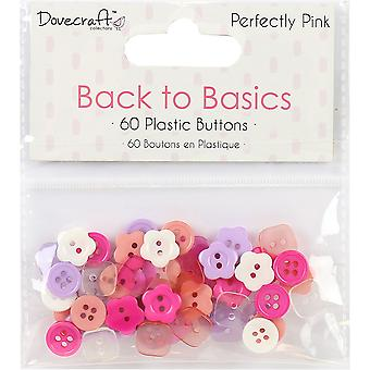 Dovecraft Back To Basics Plastic Buttons 60/Pkg-Perfectly Pink