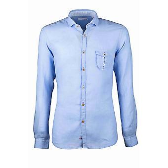 Fabio Giovanni Santo Shirt - Mens High Quality Italian Linen Blue Shirt