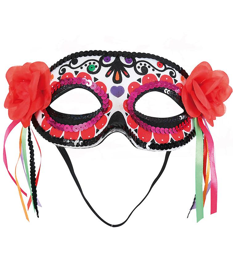 Domino mask flowers ribbons Mexican day of the dead accessory