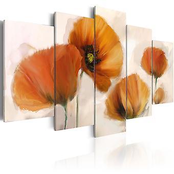 Canvas afdrukken - artistieke papavers - 5 stuks