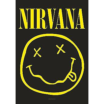 Nirvana Smiley tkaniny duży plakat / flaga 1100 X 750 Mm