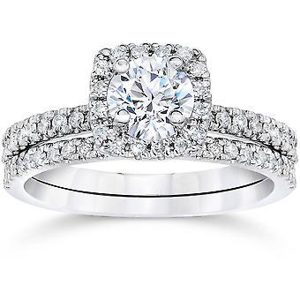 5/8 karaat kussen Halo Diamond Engagement trouwring Set witgoud