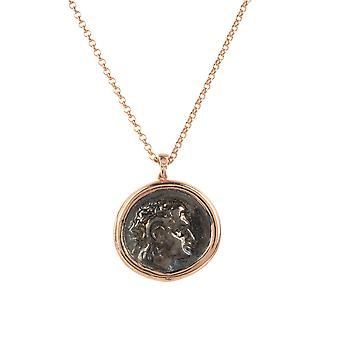 Latelita Roman Coin Ancient Pendant Necklace Rose Gold Pink Jewellery Chain Gift