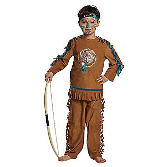Indian Child costume boy against West Carnival