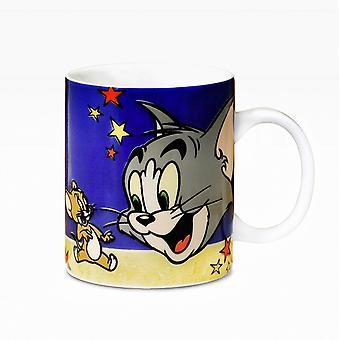 Tom & Jerry White Cup-logo, gedrukt, keramiek, wordt geleverd in robuuste geschenkdoos