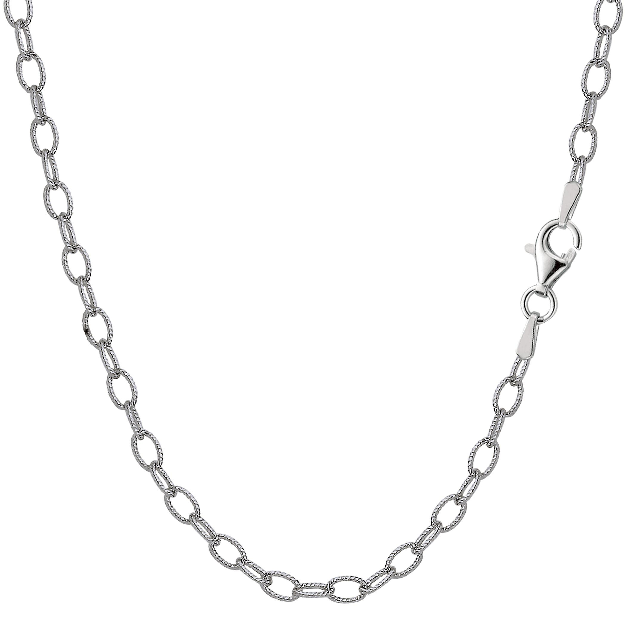 Sterling argent Rhodium Plated Oval Rolo Chain Necklace, 3.5mm