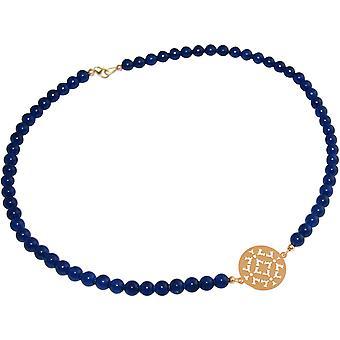 GEMSHINE Collar Gargantilla: Yoga Mandala Jade Azul. Plata, chapado en oro, rosa