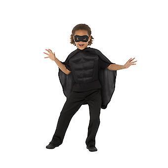 Kids Superhero Kit Black, Eyemask EVA & Cape,Boys Fancy Dress Age 4-7